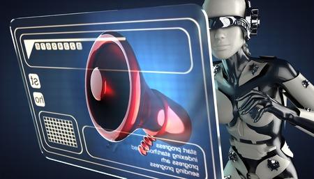 robot woman and hologram display photo