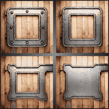 Vector wood and metal background set