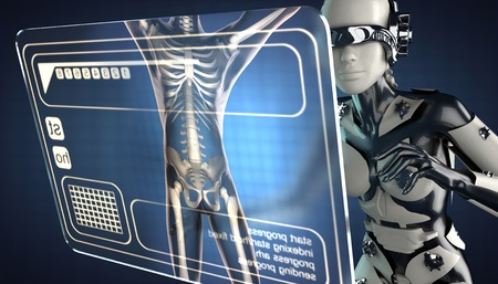 robot woman: robot woman and hologram display