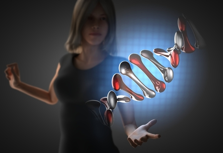 woman and futusistic hologram on hand photo
