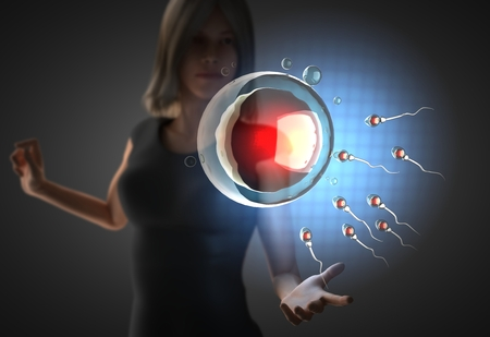 woman and futusistic hologram on hand