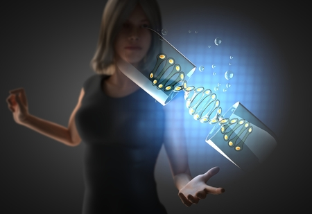 genetically modified organisms: woman and futusistic hologram on hand