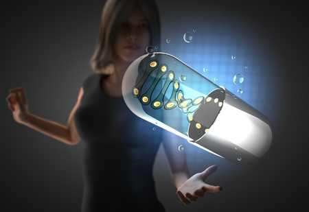 woman and futusistic hologram on hand photo