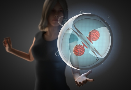 cell growth: woman and futusistic hologram on hand