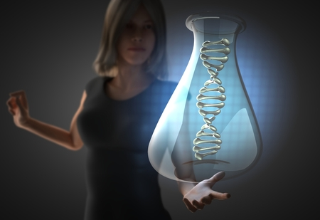 guanine: woman and futusistic hologram on hand