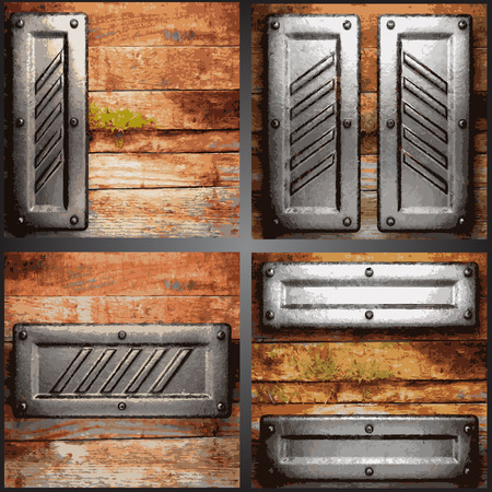 ironworks: metal and wood background set
