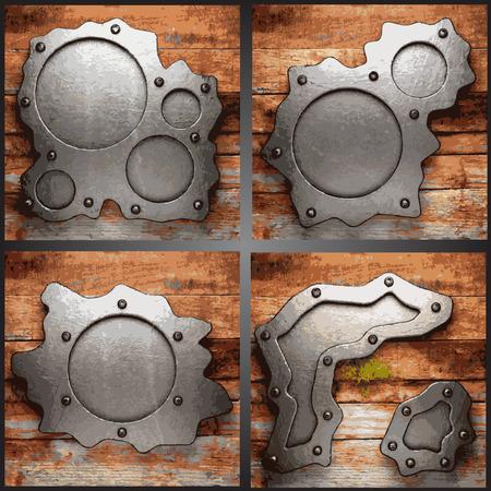ironworks: Vector metal and wood background set Illustration
