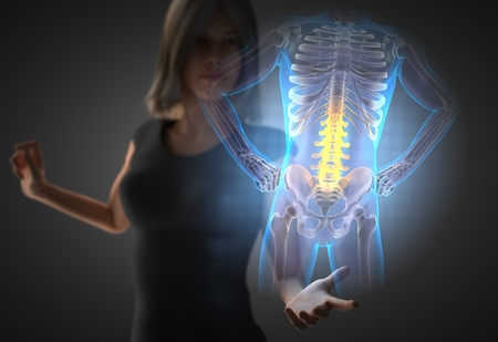 woman and hologram with bones radiography Stock Photo