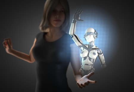 woman and hologram with robot Stock Photo