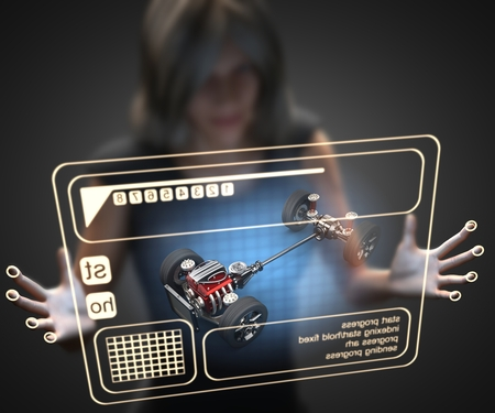 chassis: woman and hologram with car chassis Stock Photo