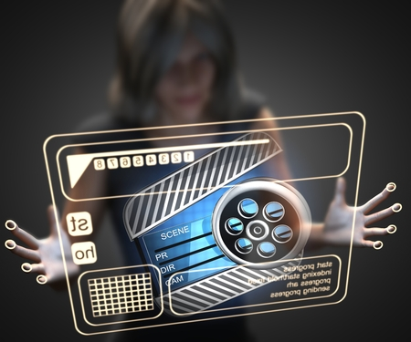 clapboard: woman and hologram with clapboard