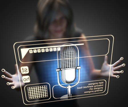 retro radio: woman and hologram with microphone