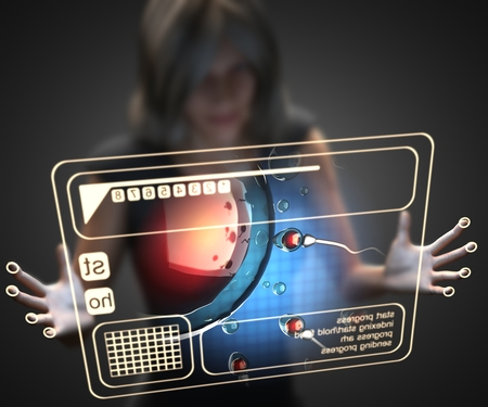 orgasm: woman and hologram with reproduction Stock Photo