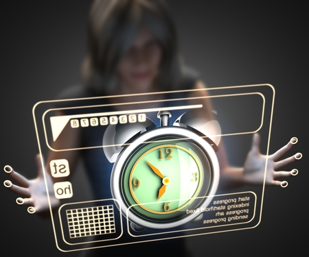 hologram: woman and hologram with clock Stock Photo