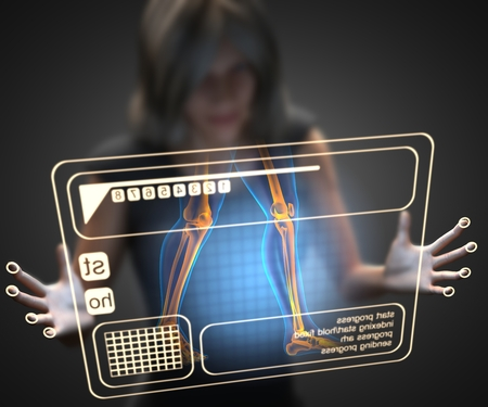future medicine: woman and hologram with knee radiography
