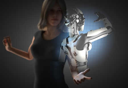 bionic: woman and hologram with robot Stock Photo