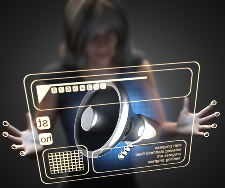 organise: woman and hologram with megaphone