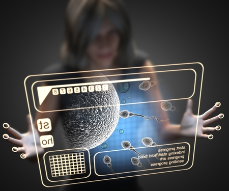 reproduction: woman and hologram with reproduction Stock Photo