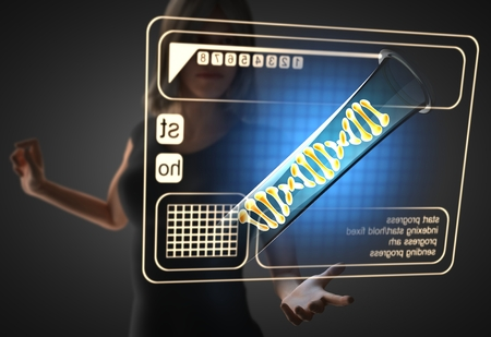 cytosine: woman and futusistic hologram on hand