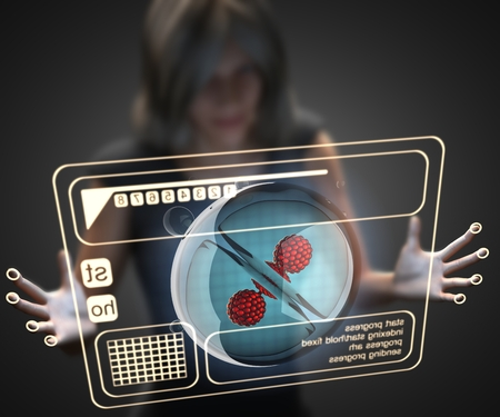 procreation: woman and hologram with cell