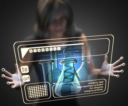 material de vidrio: Mujer y el holograma con el vidrio de laboratorio Foto de archivo