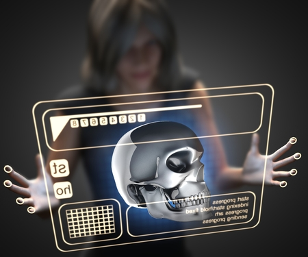 hologram: woman and hologram with skull Stock Photo