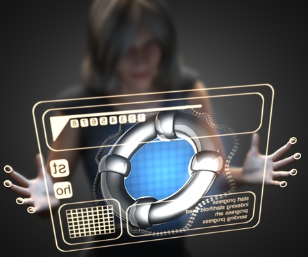 hologram: woman and hologram with lifebuoy Stock Photo