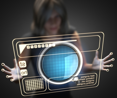 loupe: woman and hologram with loupe