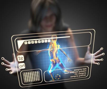 woman and hologram with soccer photo