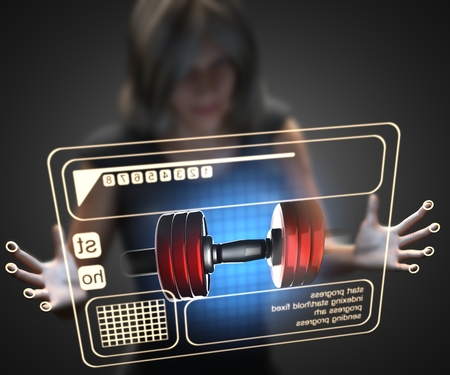 hologram: woman and hologram with dumbbell