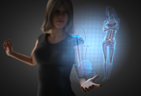 gym room: woman and hologram with gym room