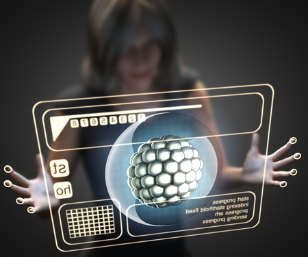 zygote: woman and hologram with cell