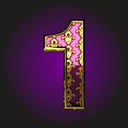 1: 1 violet letter with gold Illustration