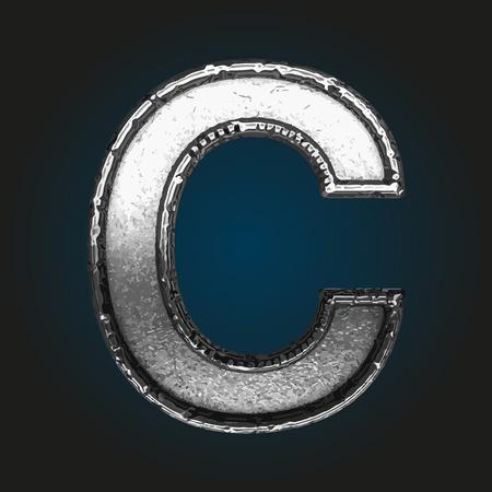 brushed steel: c metal letter