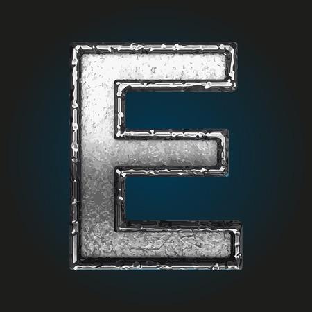 brushed steel: e metal letter