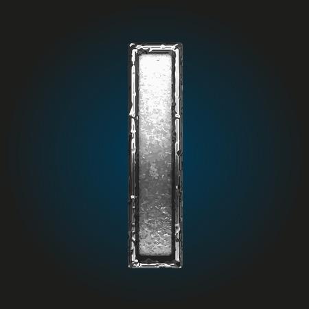 brushed steel: i metal letter