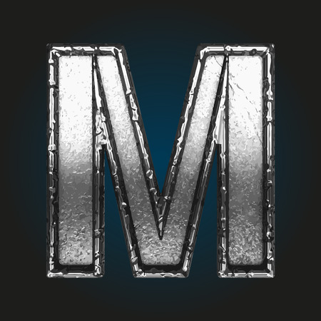 brushed aluminum: m metal letter