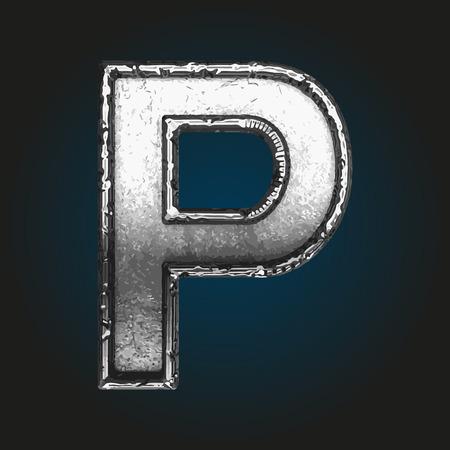 brushed aluminum: p metal letter Illustration