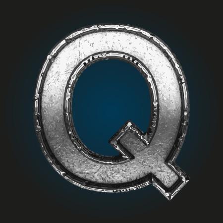 brushed steel: q metal letter