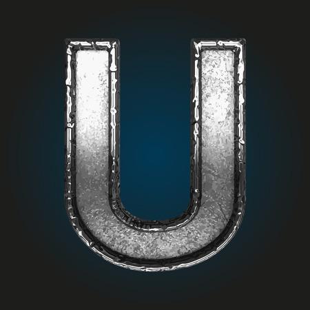 brushed steel: u metal letter