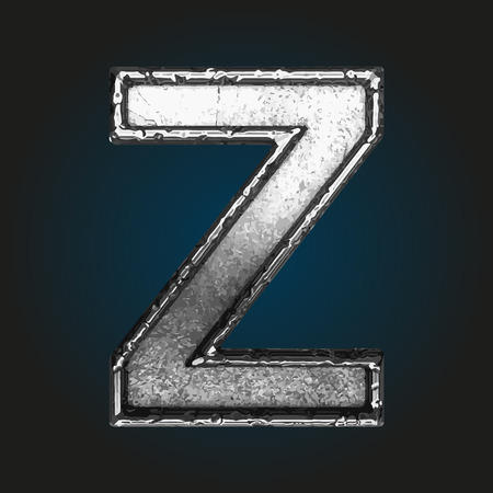 alphabet letters: z metal letter Illustration