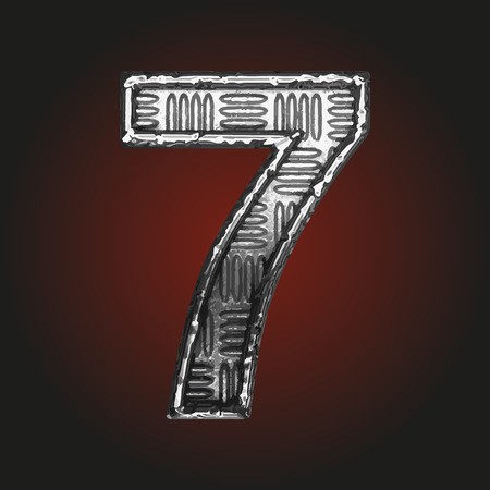 brushed steel: 7 vector metal letter Illustration