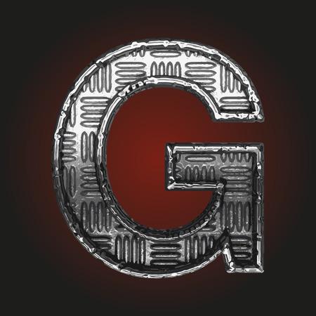 brushed steel: g vector metal letter