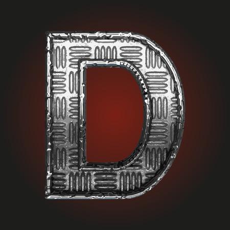 brushed steel: d vector metal letter Illustration