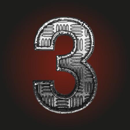 brushed steel: 3 vector metal letter