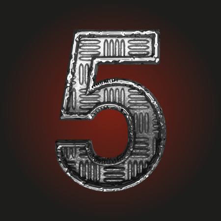 brushed aluminum: 5 vector metal letter