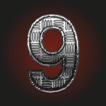 brushed aluminum: 9 vector metal letter