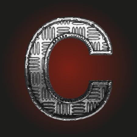 brushed steel: c vector metal letter