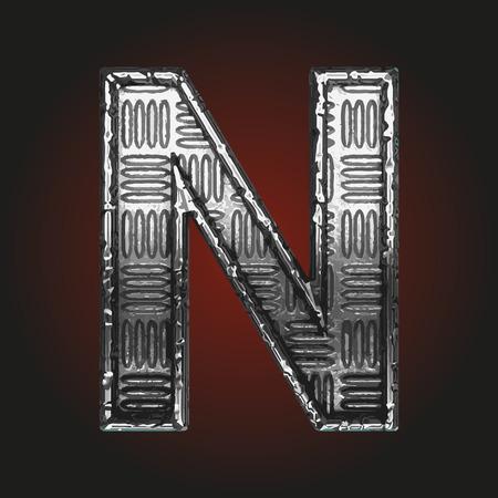 brushed aluminum: n vector metal letter Illustration