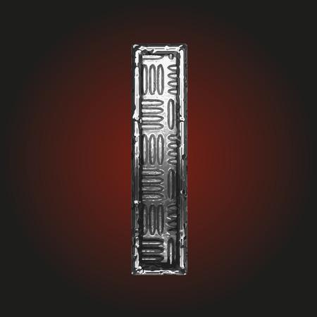 brushed aluminum: i vector metal letter